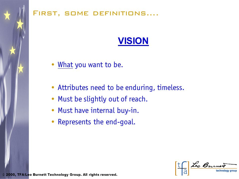 First, some definitions….MISSION How you plan to achieve your Vision.