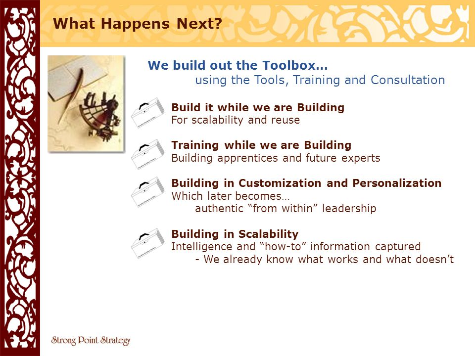 We build out the Toolbox… using the Tools, Training and Consultation Build it while we are Building For scalability and reuse Training while we are Building Building apprentices and future experts Building in Customization and Personalization Which later becomes… authentic from within leadership Building in Scalability Intelligence and how-to information captured - We already know what works and what doesn't What Happens Next