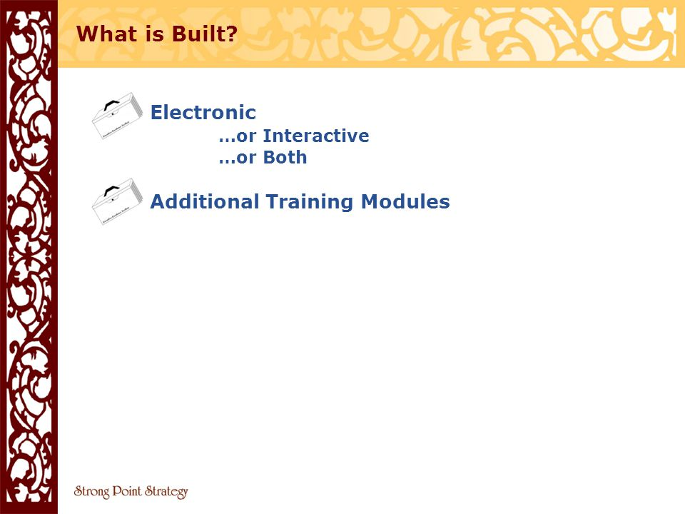 Electronic …or Interactive …or Both Additional Training Modules What is Built