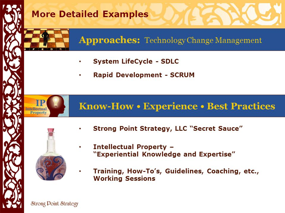 We take… Real Value of the Executive Excellence Toolbox INTERNAL Know-How Experience Best Practices Strategies & Approaches Processes Documents Tools Templates Company's Secret Sauce (IBC, HighMark, Accenture, Comcast, any other) (1 through 3 bottled) Intellectual Property - Experiential Knowledge and Expertise Training, How-Tos, Guidelines, Coaching, etc., Working Sessions Documents Tools Templates Processes Strategies & Approaches Know-How Experience Best Practices EXTERNAL