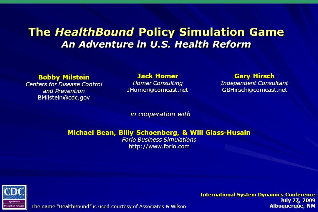 1 The HealthBound Policy Simulation Game An Adventure in U.S.