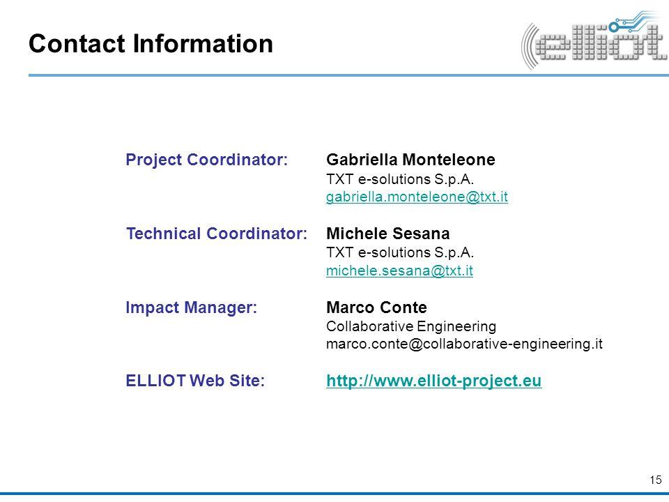 Contact Information Project Coordinator: Gabriella Monteleone TXT e-solutions S.p.A.