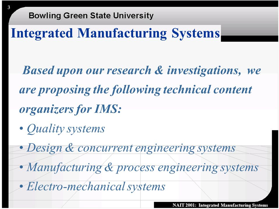 NAIT 2001: Integrated Manufacturing Systems 2 Topics 1.