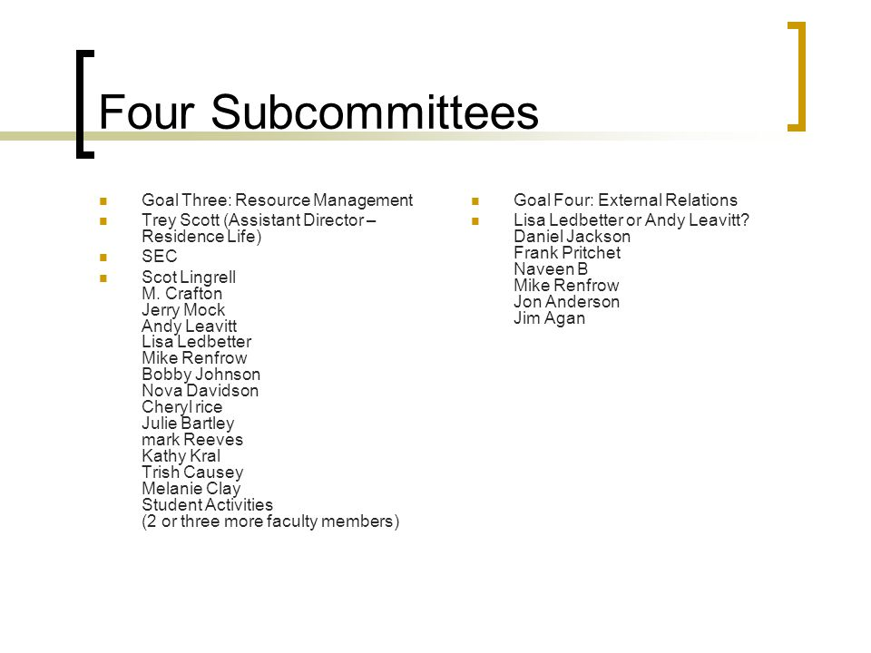 Four Subcommittees Goal Three: Resource Management Trey Scott (Assistant Director – Residence Life) SEC Scot Lingrell M.