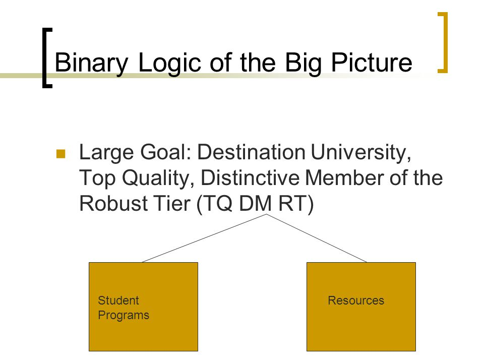 Binary Logic of the Big Picture Large Goal: Destination University, Top Quality, Distinctive Member of the Robust Tier (TQ DM RT) Student Programs Resources