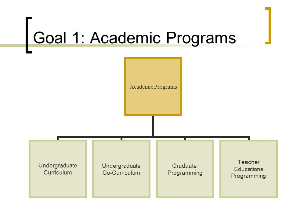 Goal 1: Academic Programs Academic Programs Undergraduate Curriculum Undergraduate Co-Curriculum Graduate Programming Teacher Educations Programming
