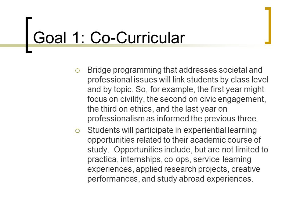Goal 1: Co-Curricular  Bridge programming that addresses societal and professional issues will link students by class level and by topic.
