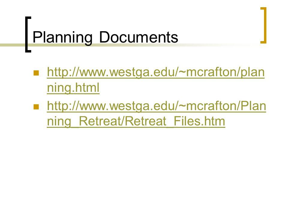 Planning Documents http://www.westga.edu/~mcrafton/plan ning.html http://www.westga.edu/~mcrafton/plan ning.html http://www.westga.edu/~mcrafton/Plan ning_Retreat/Retreat_Files.htm http://www.westga.edu/~mcrafton/Plan ning_Retreat/Retreat_Files.htm