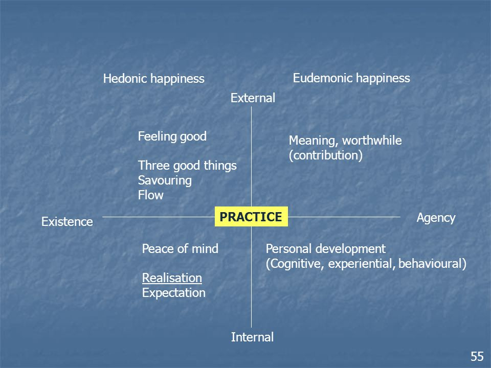 Existence Agency External Internal Hedonic happiness Eudemonic happiness Peace of mind Realisation Expectation Feeling good Three good things Savouring Flow Meaning, worthwhile (contribution) Personal development (Cognitive, experiential, behavioural) PRACTICE 55