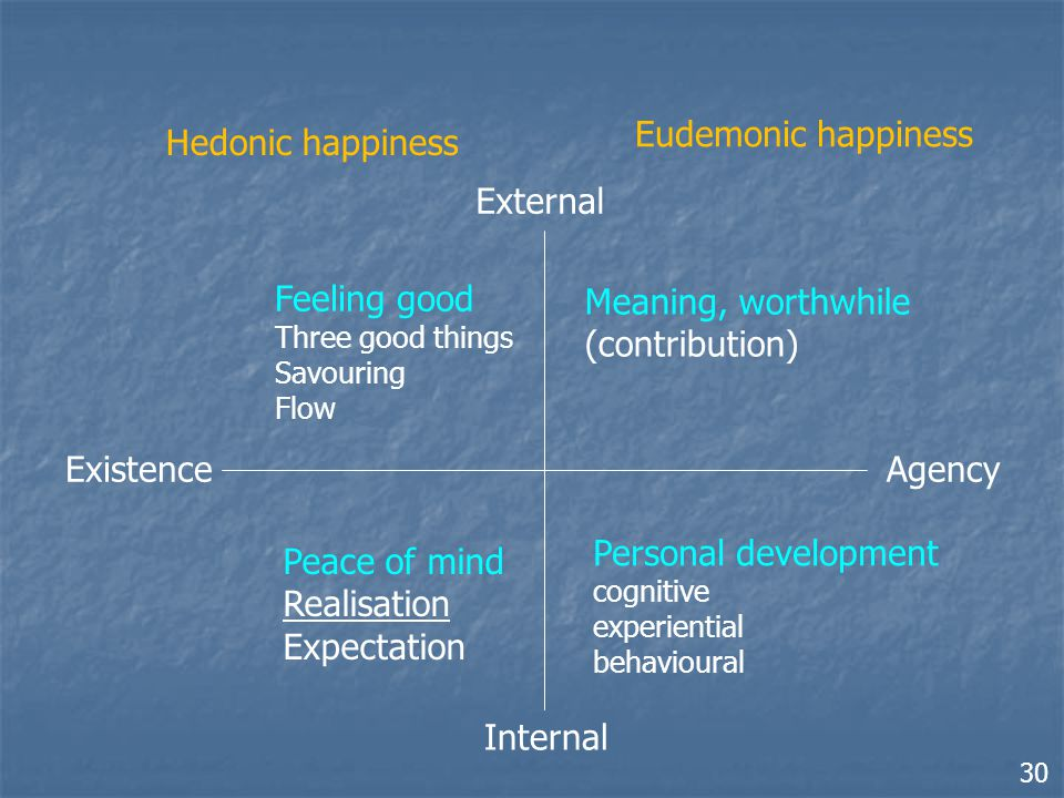 ExistenceAgency External Internal Hedonic happiness Eudemonic happiness Peace of mind Realisation Expectation Feeling good Three good things Savouring Flow Meaning, worthwhile (contribution) Personal development cognitive experiential behavioural 30