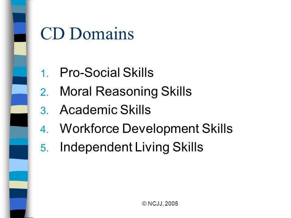 © NCJJ, 2005 CD Domains 1. Pro-Social Skills 2. Moral Reasoning Skills 3.
