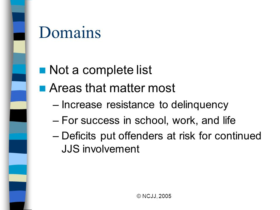 © NCJJ, 2005 Domains Not a complete list Areas that matter most –Increase resistance to delinquency –For success in school, work, and life –Deficits p