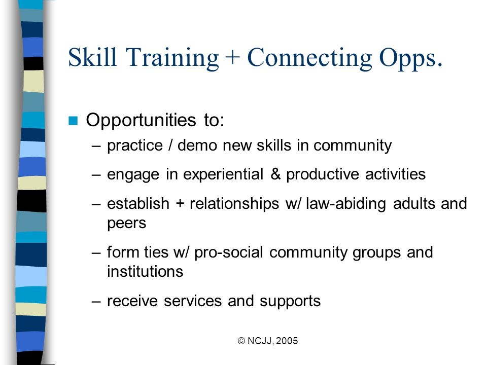 © NCJJ, 2005 Skill Training + Connecting Opps. Opportunities to: –practice / demo new skills in community –engage in experiential & productive activit