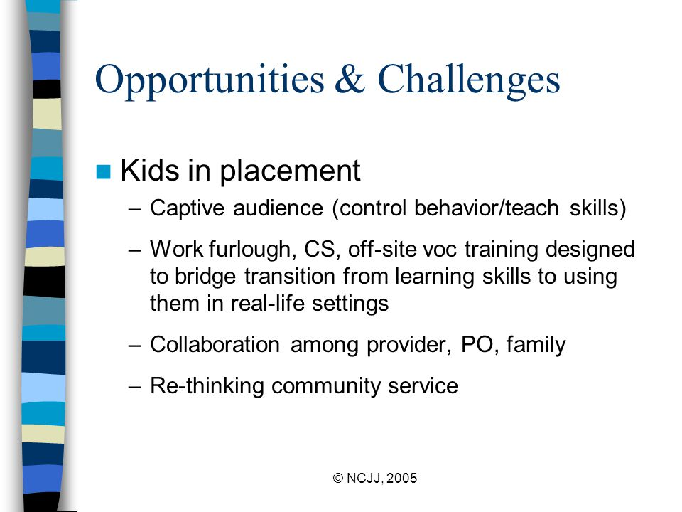 © NCJJ, 2005 Opportunities & Challenges Kids in placement –Captive audience (control behavior/teach skills) –Work furlough, CS, off-site voc training designed to bridge transition from learning skills to using them in real-life settings –Collaboration among provider, PO, family –Re-thinking community service