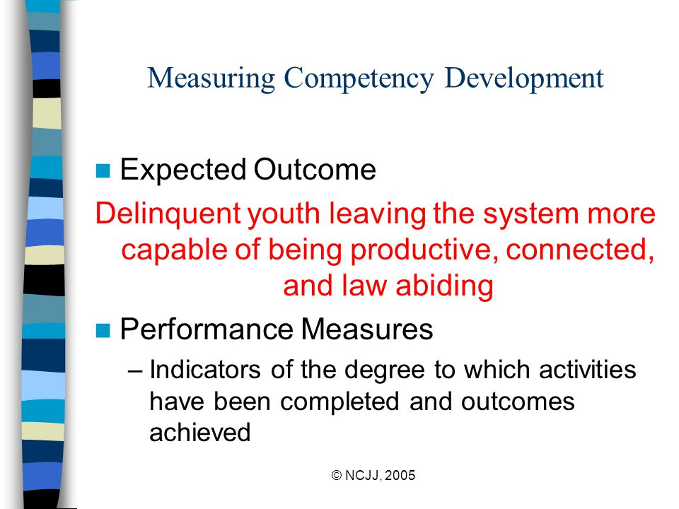 © NCJJ, 2005 Measuring Competency Development Expected Outcome Delinquent youth leaving the system more capable of being productive, connected, and law abiding Performance Measures –Indicators of the degree to which activities have been completed and outcomes achieved