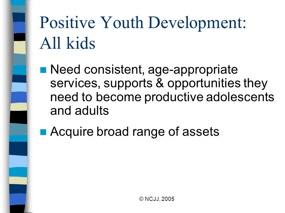 © NCJJ, 2005 Positive Youth Development: All kids Need consistent, age-appropriate services, supports & opportunities they need to become productive adolescents and adults Acquire broad range of assets