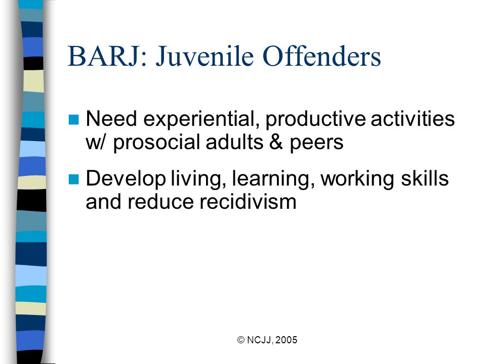© NCJJ, 2005 Research Most JOs outgrow del behaviors because they: –acquire skills and get a job –develop close, caring personal relationships –establish attachments & ties to prosocial groups and institutions