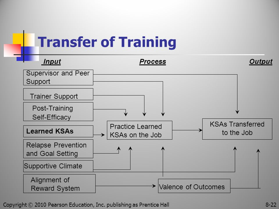 Transfer of Training Input Process Output Supervisor and Peer Support Post-Training Self-Efficacy Alignment of Reward System Supportive Climate Relapse Prevention and Goal Setting Trainer Support Learned KSAs Practice Learned KSAs on the Job Valence of Outcomes KSAs Transferred to the Job Copyright © 2010 Pearson Education, Inc.