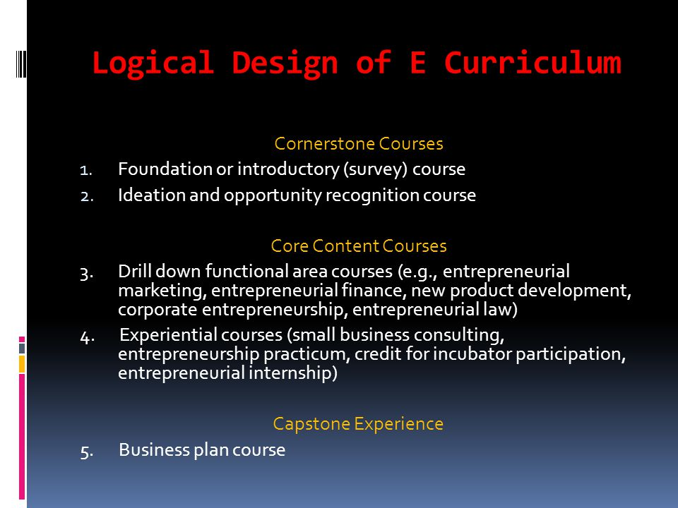 Logical Design of E Curriculum Cornerstone Courses 1.
