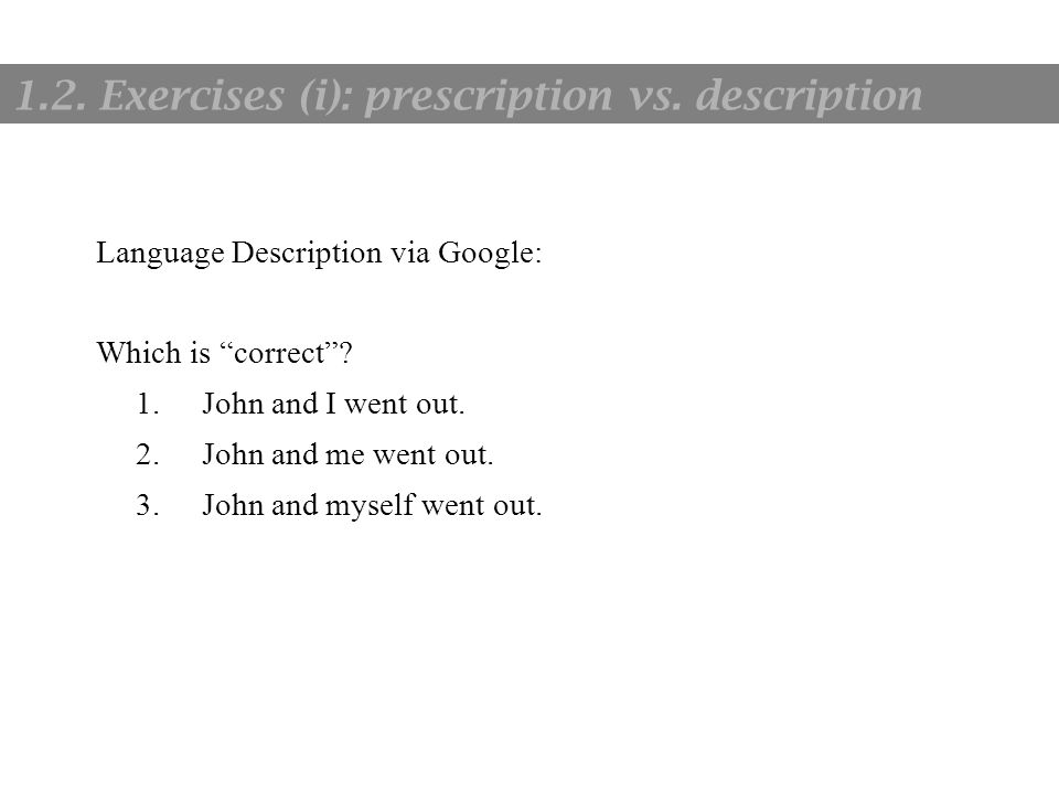 "1. Language and communication Language Description via Google: Which is ""correct""? 1.John and I went out. 2.John and me went out. 3.John and myself we"