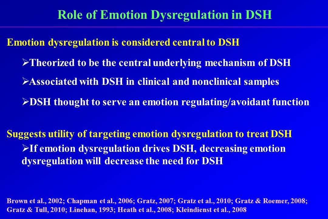 Role of Emotion Dysregulation in DSH Emotion dysregulation is considered central to DSH  Theorized to be the central underlying mechanism of DSH  Associated with DSH in clinical and nonclinical samples  DSH thought to serve an emotion regulating/avoidant function Suggests utility of targeting emotion dysregulation to treat DSH  If emotion dysregulation drives DSH, decreasing emotion dysregulation will decrease the need for DSH Brown et al., 2002; Chapman et al., 2006; Gratz, 2007; Gratz et al., 2010; Gratz & Roemer, 2008; Gratz & Tull, 2010; Linehan, 1993; Heath et al., 2008; Kleindienst et al., 2008