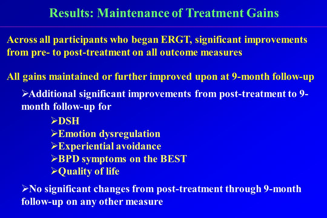 Results: Maintenance of Treatment Gains Across all participants who began ERGT, significant improvements from pre- to post-treatment on all outcome measures All gains maintained or further improved upon at 9-month follow-up  Additional significant improvements from post-treatment to 9- month follow-up for  DSH  Emotion dysregulation  Experiential avoidance  BPD symptoms on the BEST  Quality of life  No significant changes from post-treatment through 9-month follow-up on any other measure