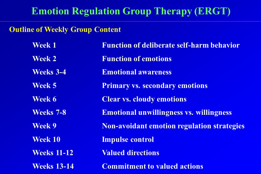 Emotion Regulation Group Therapy (ERGT) Outline of Weekly Group Content Week 1Function of deliberate self-harm behavior Week 2Function of emotions Weeks 3-4Emotional awareness Week 5Primary vs.