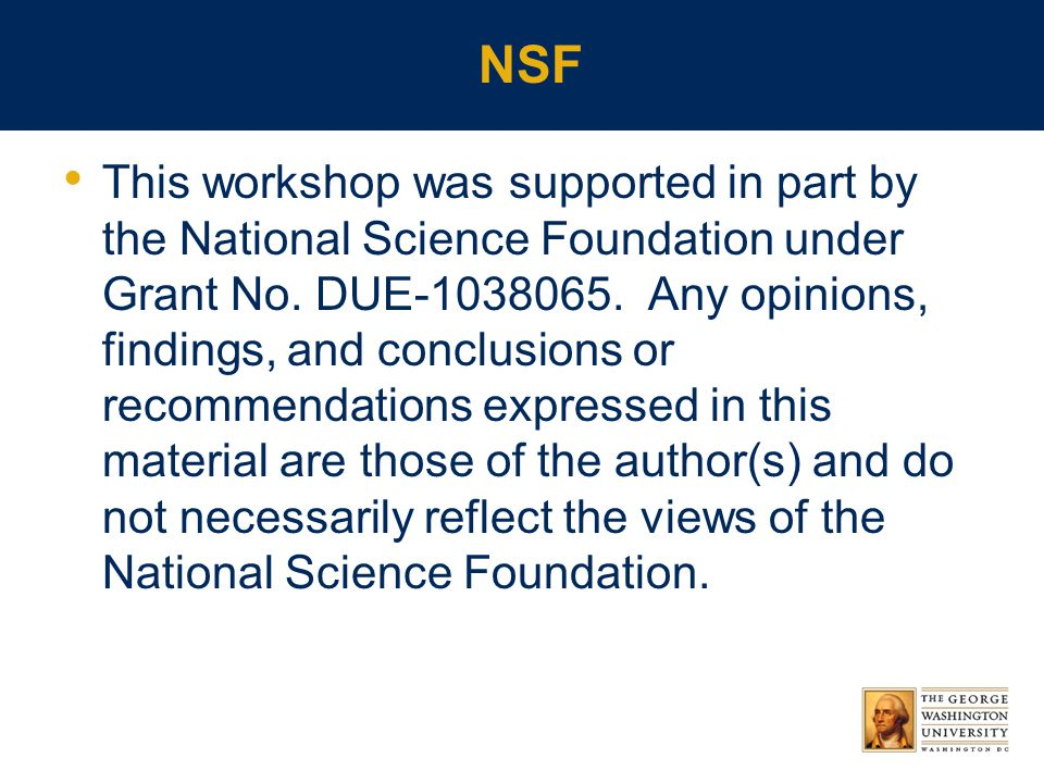 NSF This workshop was supported in part by the National Science Foundation under Grant No.