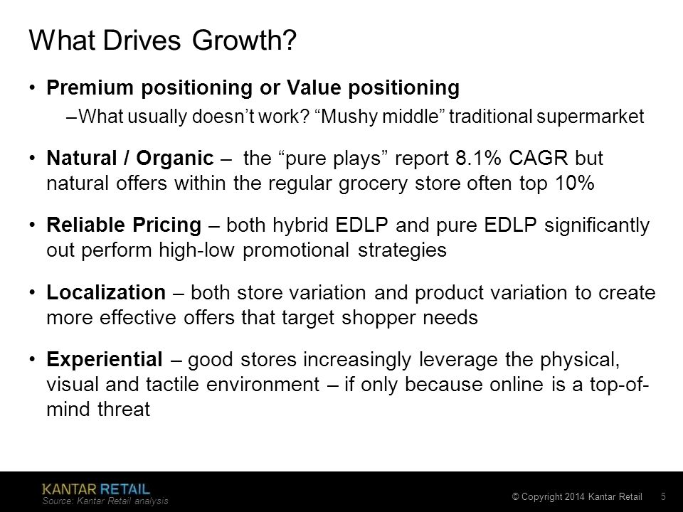 "© Copyright 2014 Kantar Retail What Drives Growth? Premium positioning or Value positioning –What usually doesn't work? ""Mushy middle"" traditional sup"