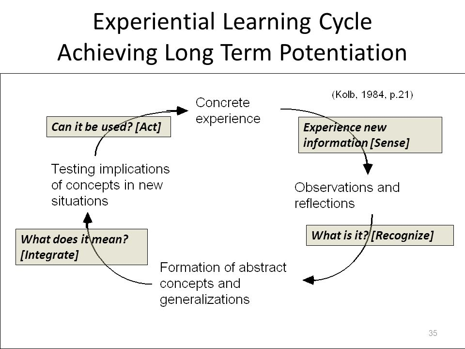 Experiential Learning Cycle Achieving Long Term Potentiation 35 What is it? [Recognize] Outside Inside Can it be used? [Act] Experience new informatio