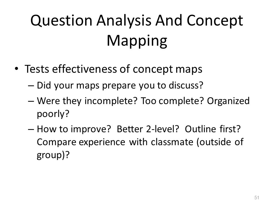 Question Analysis And Concept Mapping Tests effectiveness of concept maps – Did your maps prepare you to discuss? – Were they incomplete? Too complete