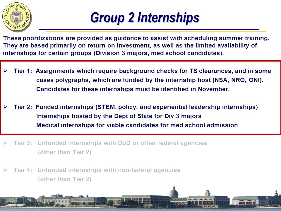 Group 2 Internships These prioritizations are provided as guidance to assist with scheduling summer training.