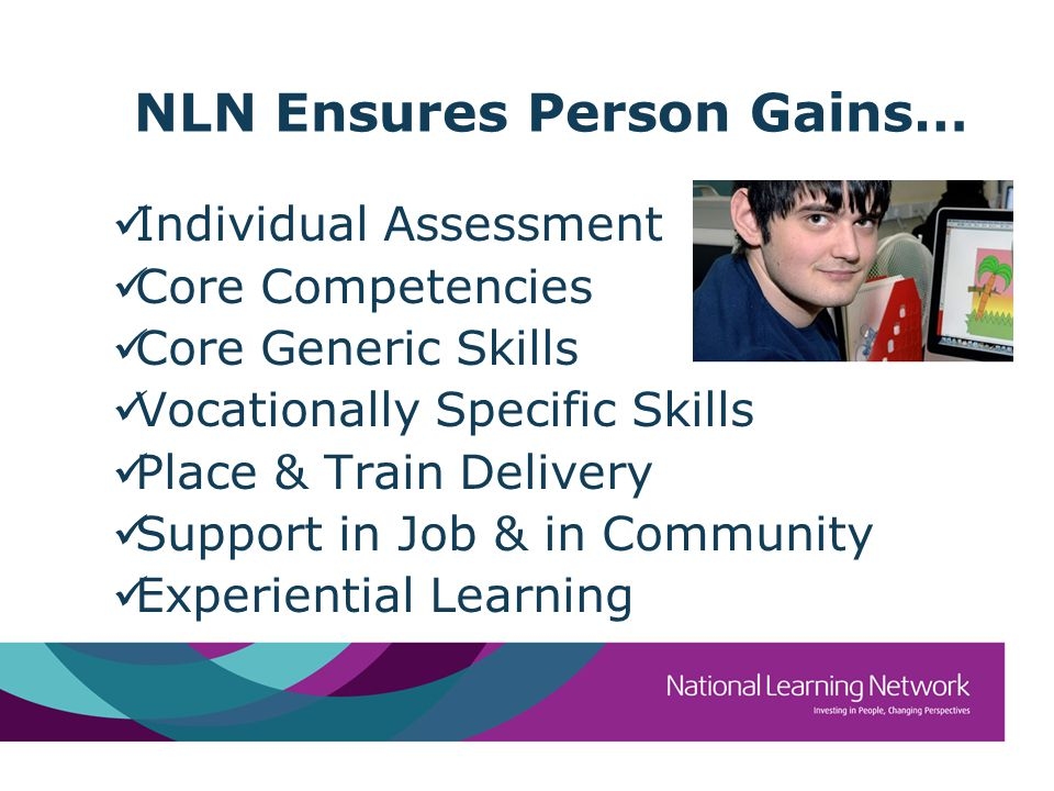 NLN Ensures Person Gains… Individual Assessment Core Competencies Core Generic Skills Vocationally Specific Skills Place & Train Delivery Support in Job & in Community Experiential Learning