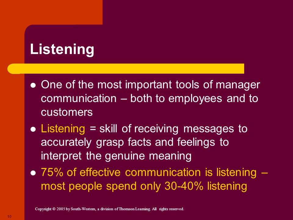Copyright © 2005 by South-Western, a division of Thomson Learning. All rights reserved. 10 Listening One of the most important tools of manager commun
