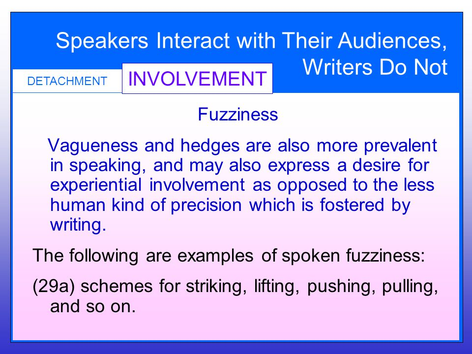 Speakers Interact with Their Audiences, Writers Do Not INVOLVEMENT DETACHMENT Fuzziness Vagueness and hedges are also more prevalent in speaking, and may also express a desire for experiential involvement as opposed to the less human kind of precision which is fostered by writing.