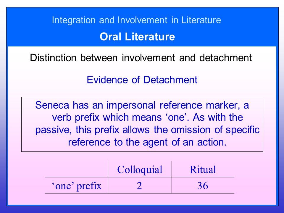 Integration and Involvement in Literature Oral Literature Distinction between involvement and detachment Evidence of Detachment Seneca has an impersonal reference marker, a verb prefix which means 'one'.