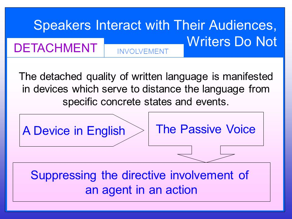 Speakers Interact with Their Audiences, Writers Do Not INVOLVEMENT DETACHMENT The detached quality of written language is manifested in devices which serve to distance the language from specific concrete states and events.