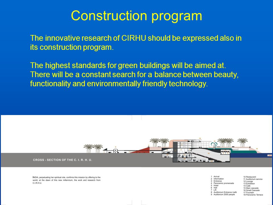 Construction program The innovative research of CIRHU should be expressed also in its construction program. The highest standards for green buildings