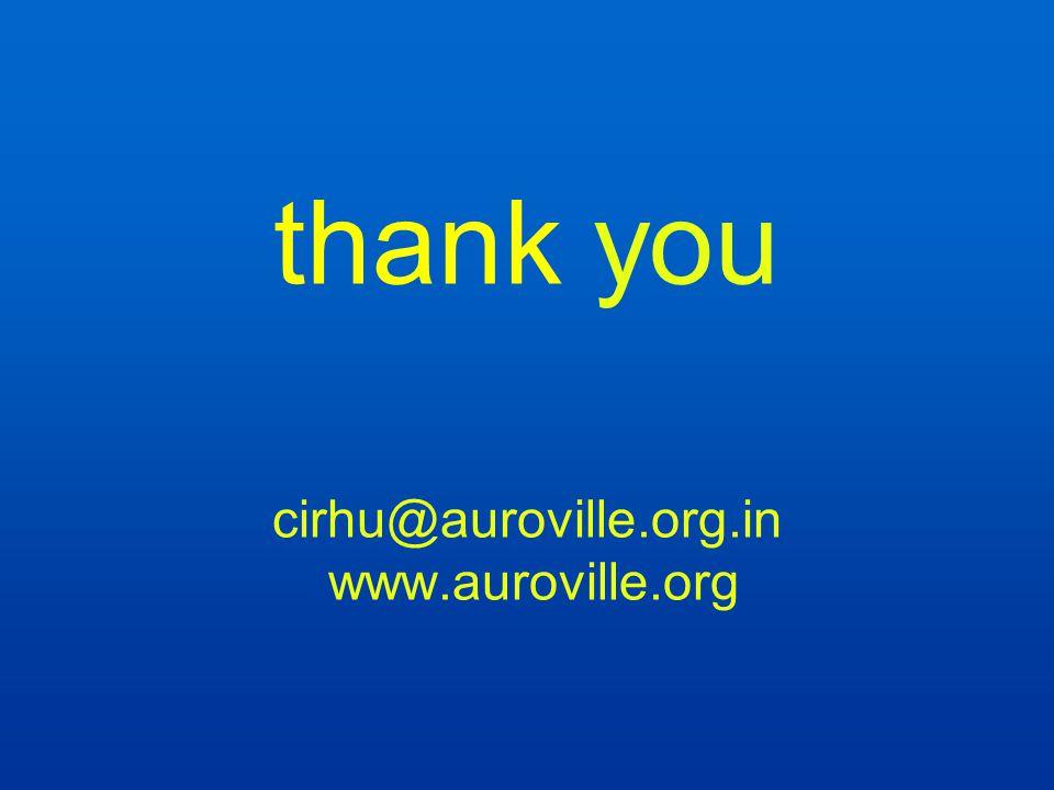 thank you cirhu@auroville.org.in www.auroville.org