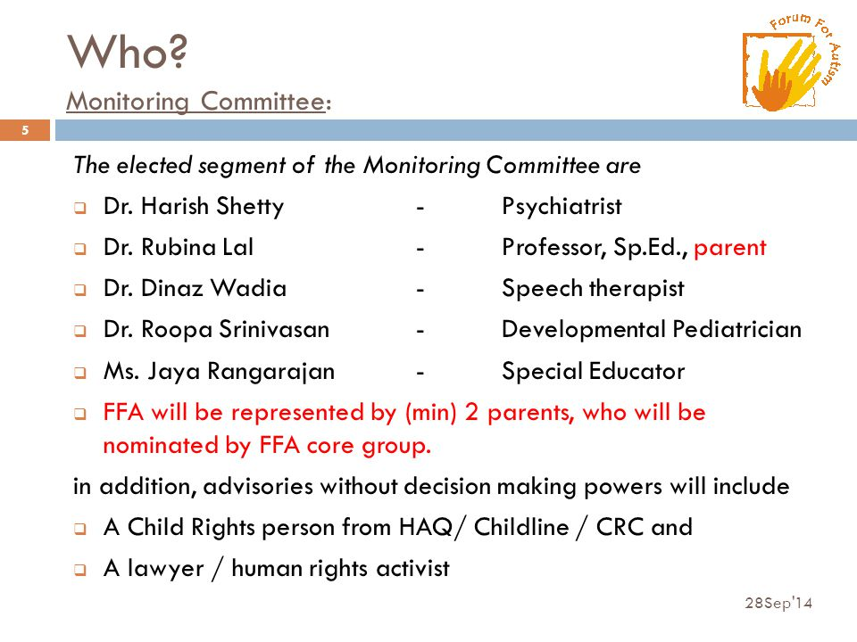 Who.Monitoring Committee: The elected segment of the Monitoring Committee are  Dr.