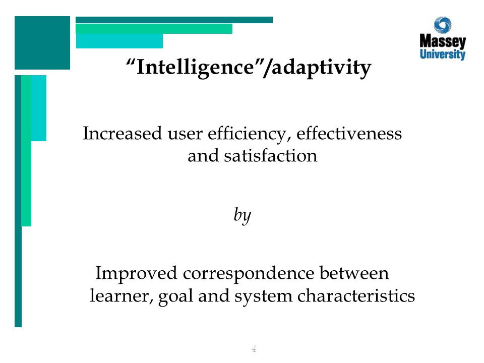 4 Intelligence /adaptivity Increased user efficiency, effectiveness and satisfaction by Improved correspondence between learner, goal and system characteristics