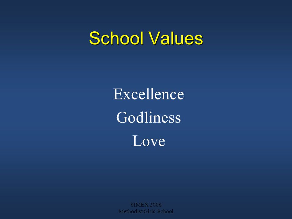 SIMEX 2006 Methodist Girls School School Values Excellence Godliness Love