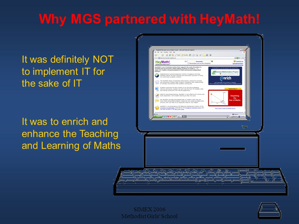 SIMEX 2006 Methodist Girls School HeyMath.– A virtual extension of our Maths Department.