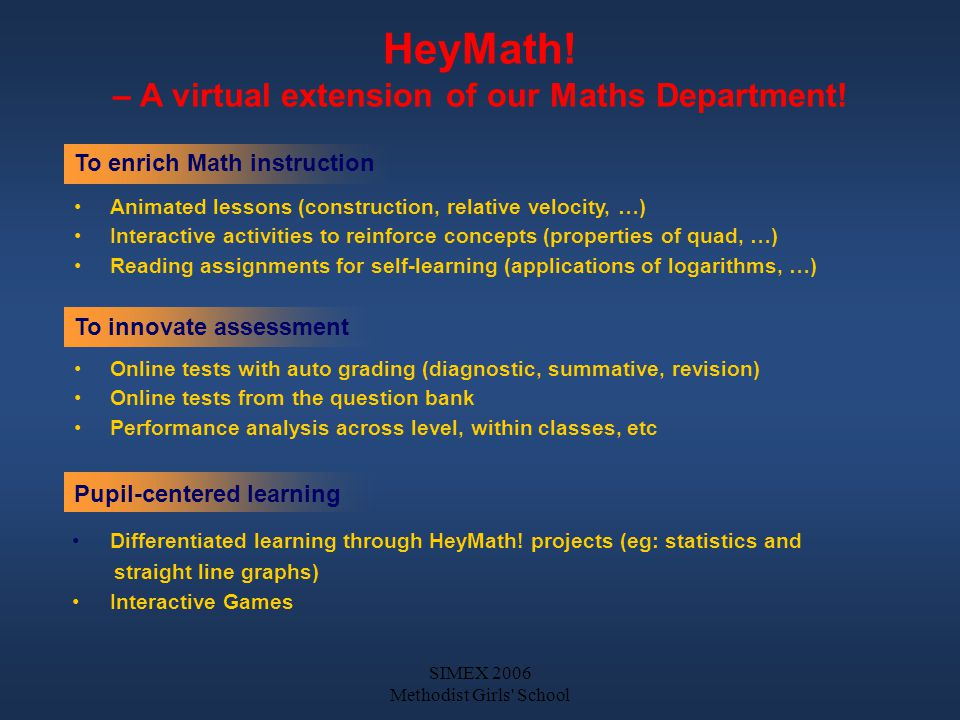 SIMEX 2006 Methodist Girls School HeyMath. – A virtual extension of our Maths Department.