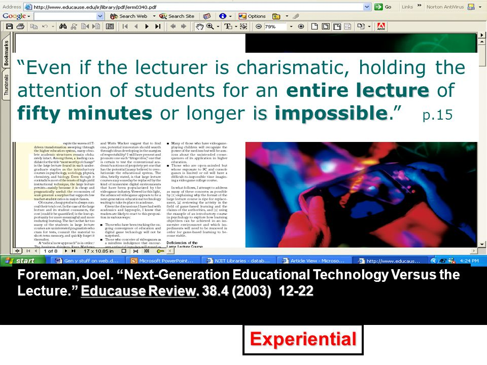"XXXXXXXXXXXXXXXXXXXXXXXXXXX "" p.X Educause Review. 38.4 (2003) 12-22 Foreman, Joel. ""Next-Generation Educational Technology Versus the Lecture."" Educa"