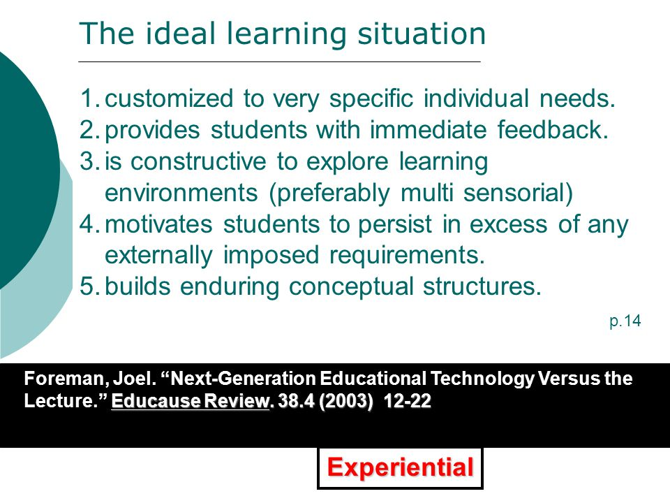 "XXXXXXXXXXXXXXXXXXXXXXXXXXX Educause Review. 38.4 (2003) 12-22 Foreman, Joel. ""Next-Generation Educational Technology Versus the Lecture."" Educause Re"