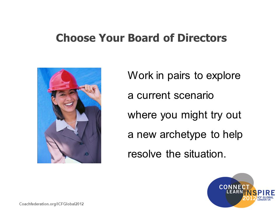 Coachfederation.org/ICFGlobal2012 Choose Your Board of Directors Work in pairs to explore a current scenario where you might try out a new archetype to help resolve the situation.