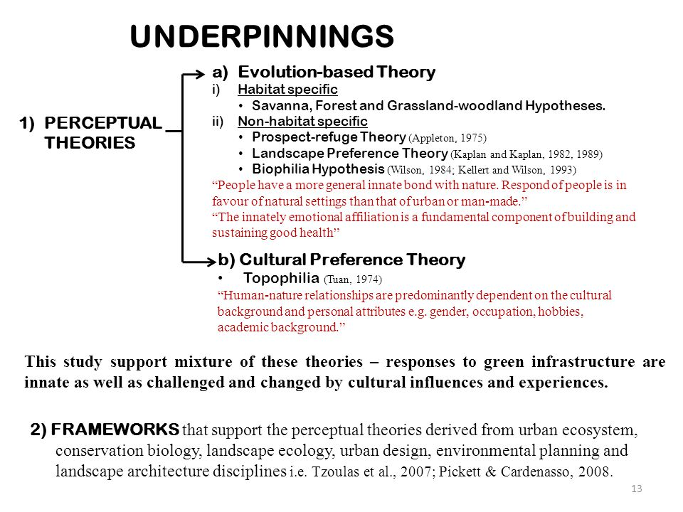 13 UNDERPINNINGS 1)PERCEPTUAL THEORIES 2) FRAMEWORKS that support the perceptual theories derived from urban ecosystem, conservation biology, landscap