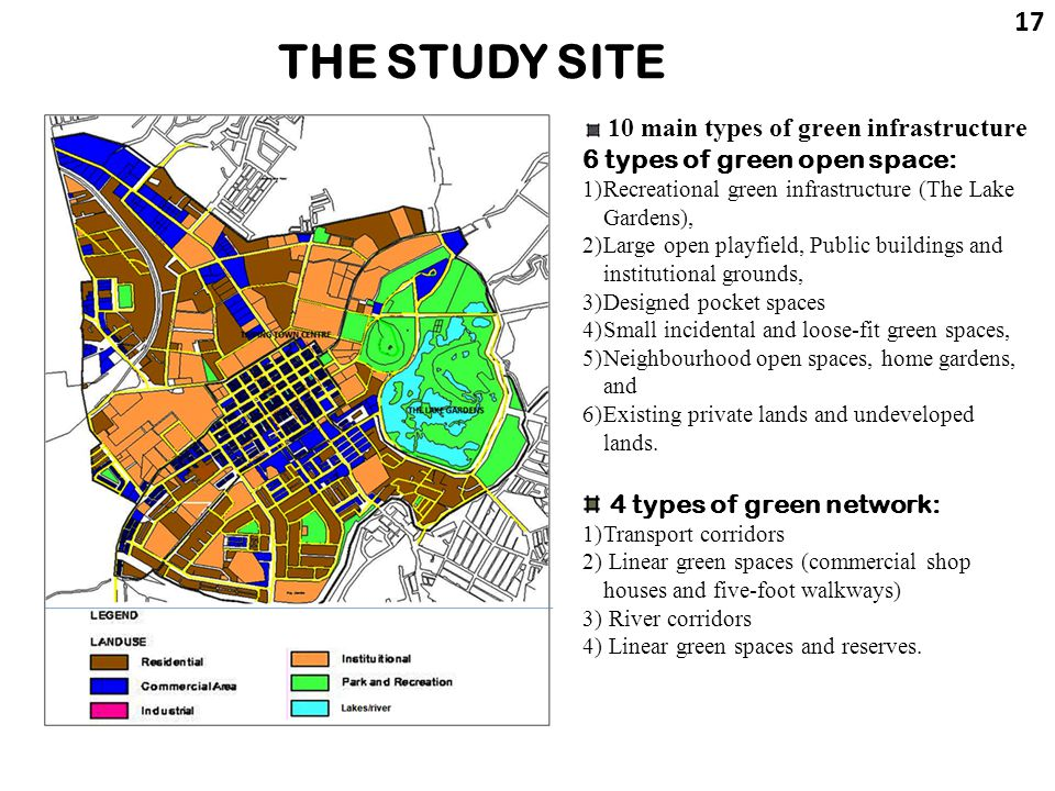 THE STUDY SITE 17 10 main types of green infrastructure 6 types of green open space: 1)Recreational green infrastructure (The Lake Gardens), 2)Large o