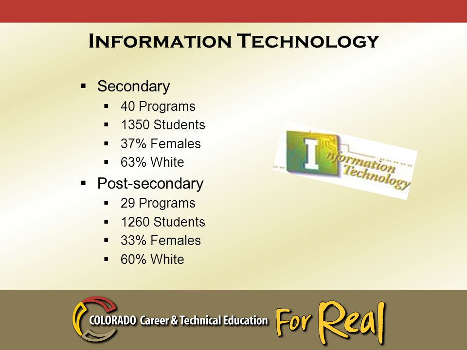 Information Technology  Secondary  40 Programs  1350 Students  37% Females  63% White  Post-secondary  29 Programs  1260 Students  33% Females  60% White